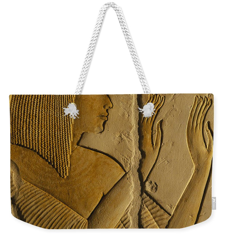 Writings Weekender Tote Bag featuring the photograph Maya Prays To The Gods On The Wall by Kenneth Garrett