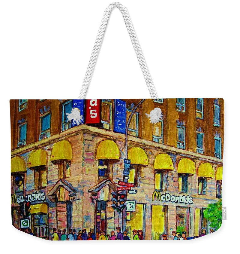 Mcdonald Restaurant Montreal Weekender Tote Bag featuring the painting Mcdonald by Carole Spandau