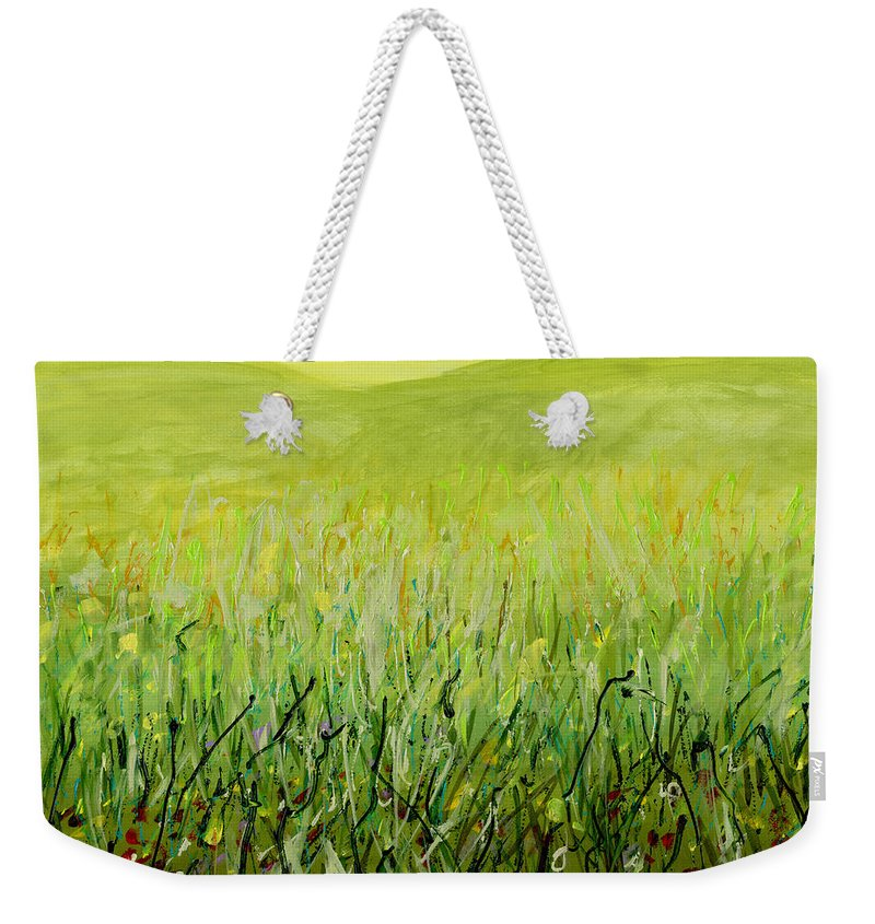 Abstract Weekender Tote Bag featuring the painting Meadow Four by Lynne Taetzsch