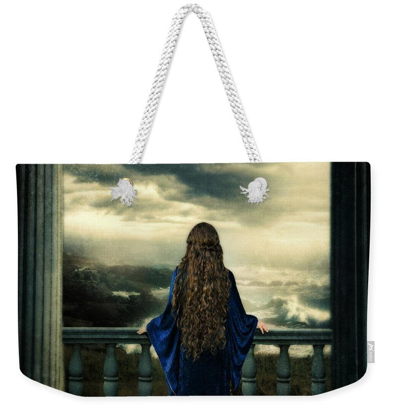 Lady Weekender Tote Bag featuring the photograph Medieval Lady Watching The Sea by Jill Battaglia