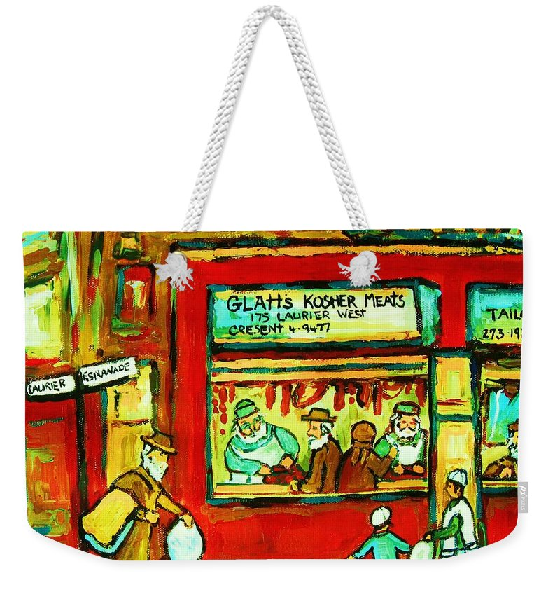 Judaica Weekender Tote Bag featuring the painting Meet Me At The Meat Market by Carole Spandau