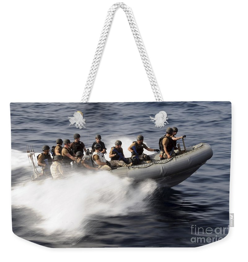 Operation Enduring Freedom Weekender Tote Bag featuring the photograph Members Of A Visit, Board, Search by Stocktrek Images