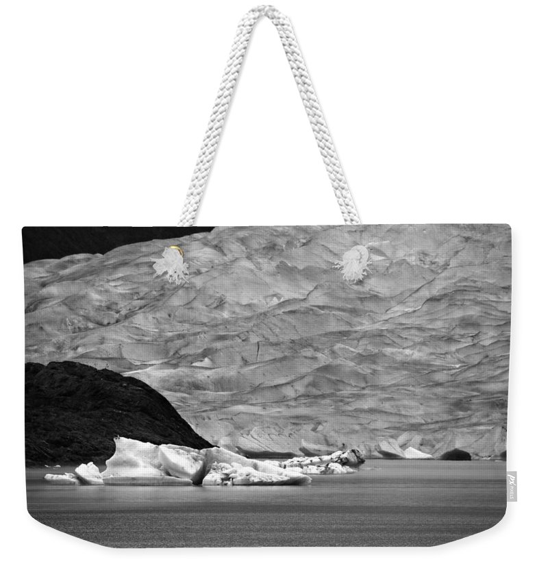 Mendenhall Glacier Weekender Tote Bag featuring the photograph Mendenhall Glacier Bw by Marilyn Wilson