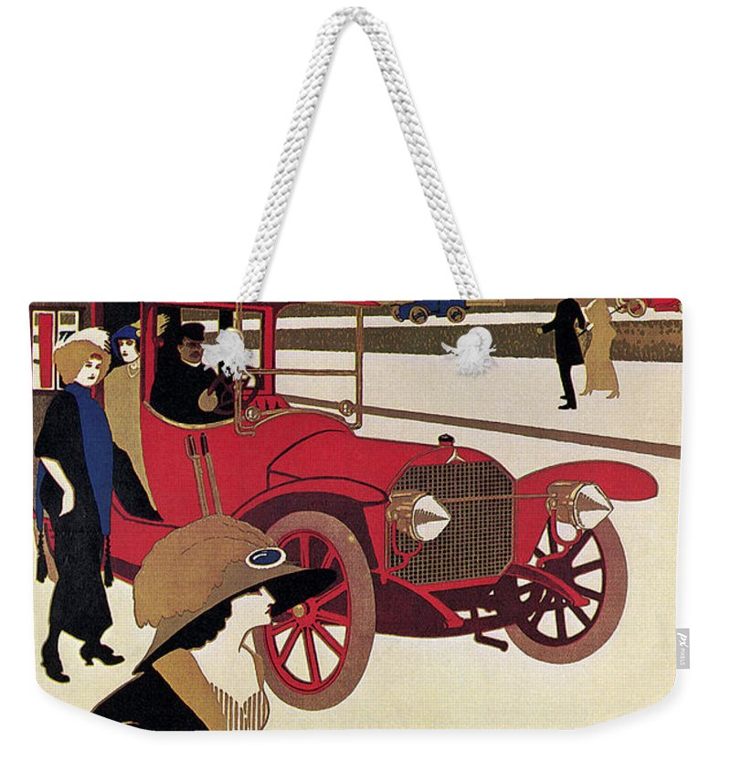 1914 Weekender Tote Bag featuring the photograph Mercedes Ad, C1914 by Granger