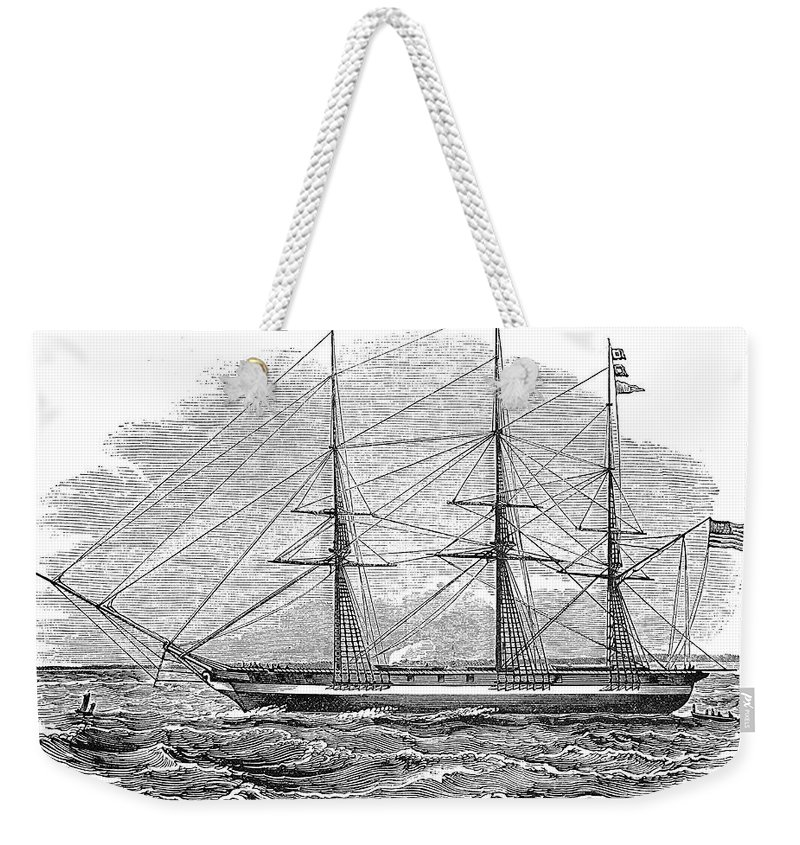 1844 Weekender Tote Bag featuring the photograph Merchant Steamship, 1844 by Granger