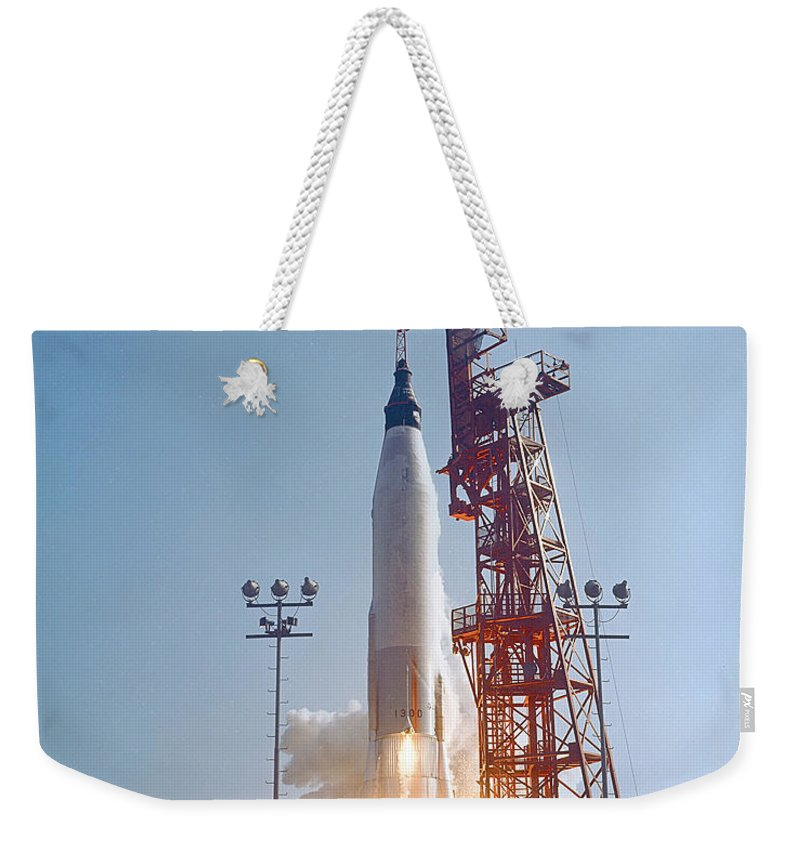 Mercury Weekender Tote Bag featuring the photograph Mercury-atlas 9 Lifts by Stocktrek Images
