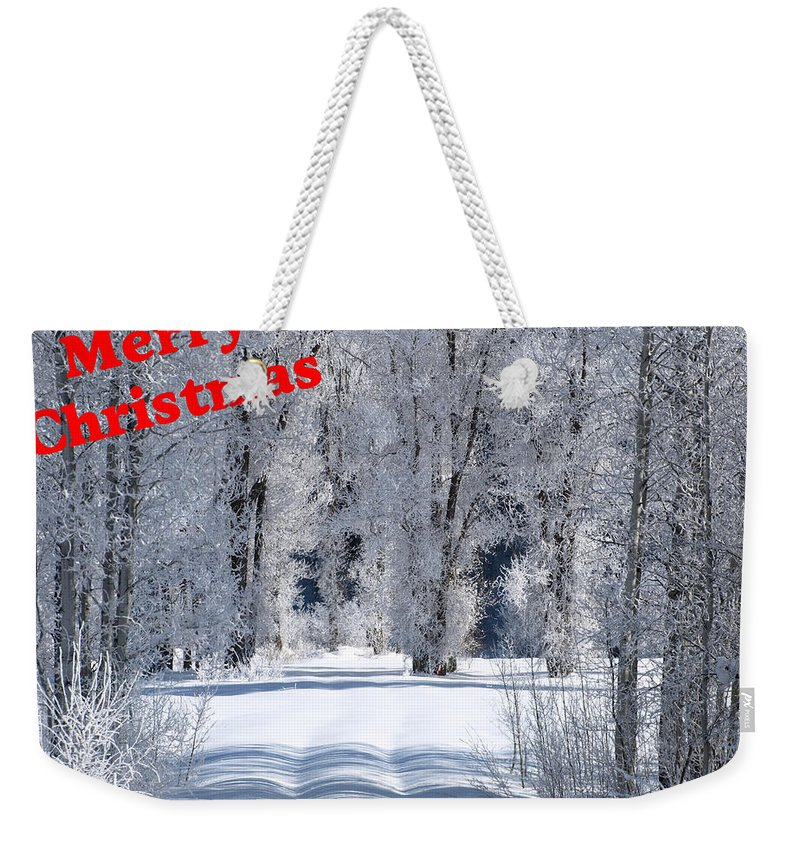 Christmas Weekender Tote Bag featuring the photograph Merry Christmas Card 1 by DeeLon Merritt