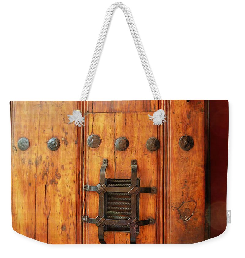 Mexico Weekender Tote Bag featuring the photograph Mexican Door Decor 10 by Xueling Zou