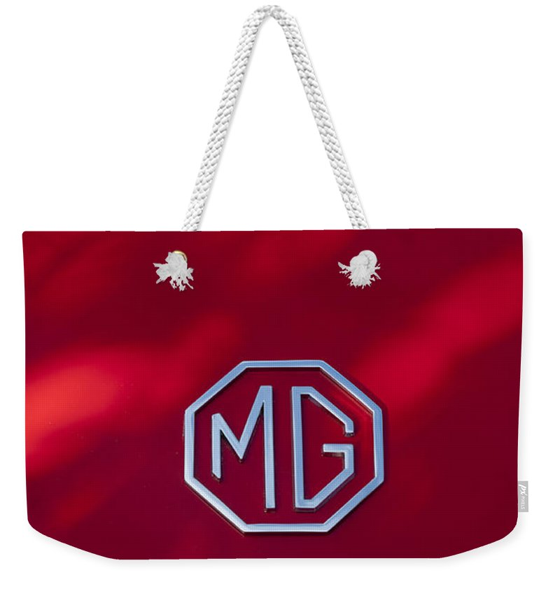 Mg 1600 Mk Ii Weekender Tote Bag featuring the photograph Mg 1600 Mk II Emblem by Jill Reger