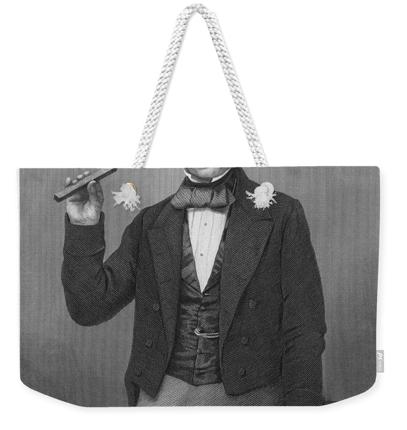 19th Century Weekender Tote Bag featuring the photograph Michael Faraday (1791-1867) by Granger
