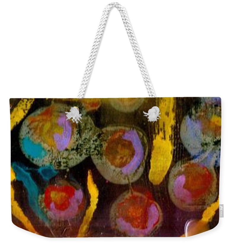Bubbles Weekender Tote Bag featuring the mixed media Midnight Baubles by Angela L Walker