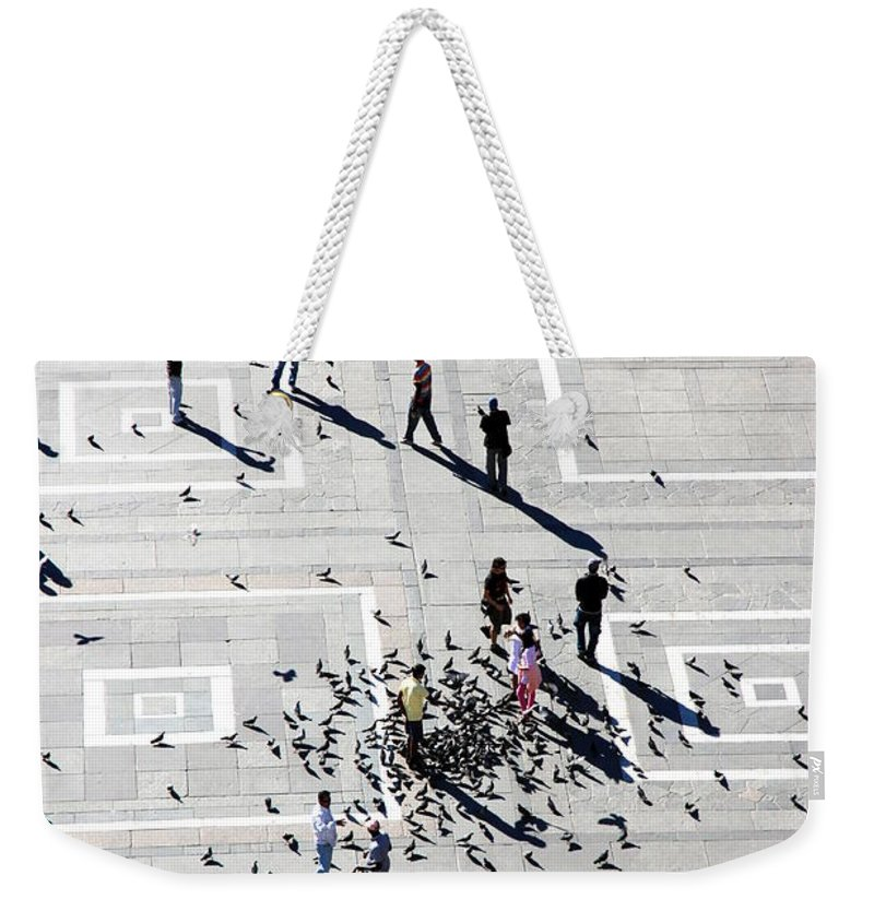 Milan Weekender Tote Bag featuring the photograph Milan Duomo Square by Valentino Visentini
