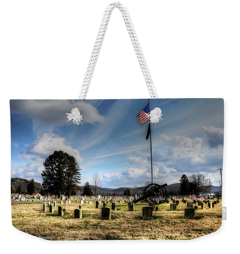 Cemetery Weekender Tote Bag featuring the photograph Military Honors by Shirley Tinkham