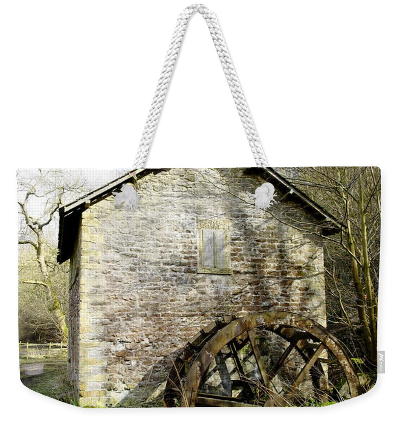 Countryside Weekender Tote Bag featuring the photograph Mill And Water-wheel Near Ashford-in-the-water by Rod Johnson