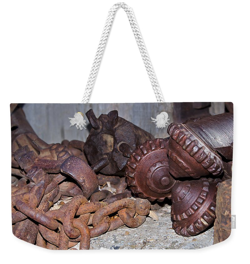 Drill Bit Weekender Tote Bag featuring the photograph Mining Drill Bit by Phyllis Denton