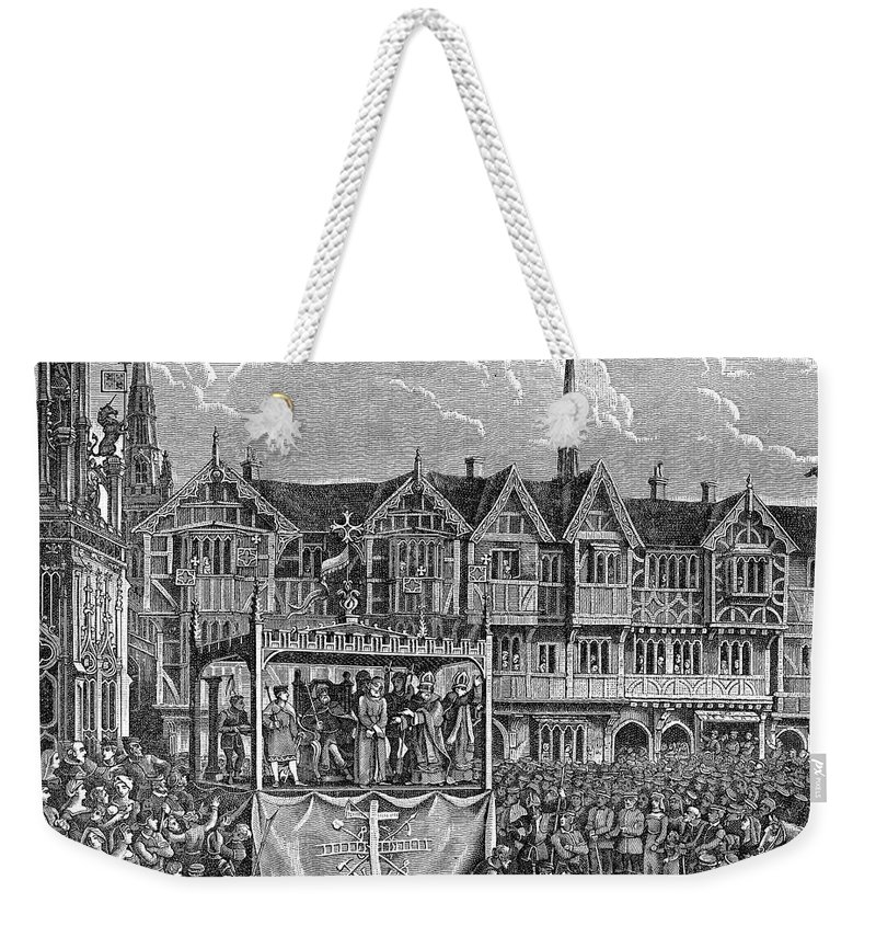 15th Century Weekender Tote Bag featuring the photograph Miracle Play, 15th Century by Granger