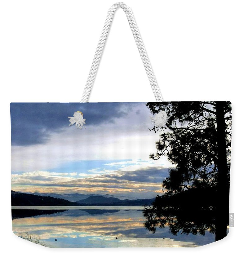 Wood Lake Weekender Tote Bag featuring the photograph Mirror Image Sunset by Will Borden