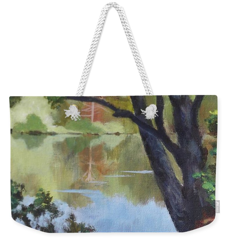 Blue Weekender Tote Bag featuring the painting Mirror Reflection by Claire Gagnon