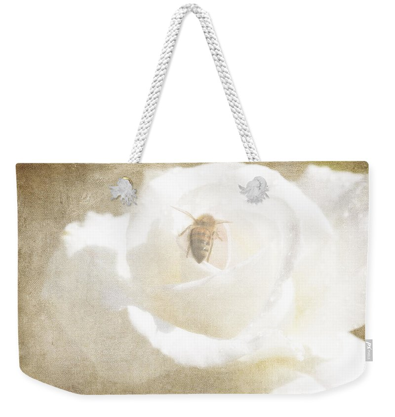 Bee Weekender Tote Bag featuring the photograph Miss Bee Haven II by Linda Dunn