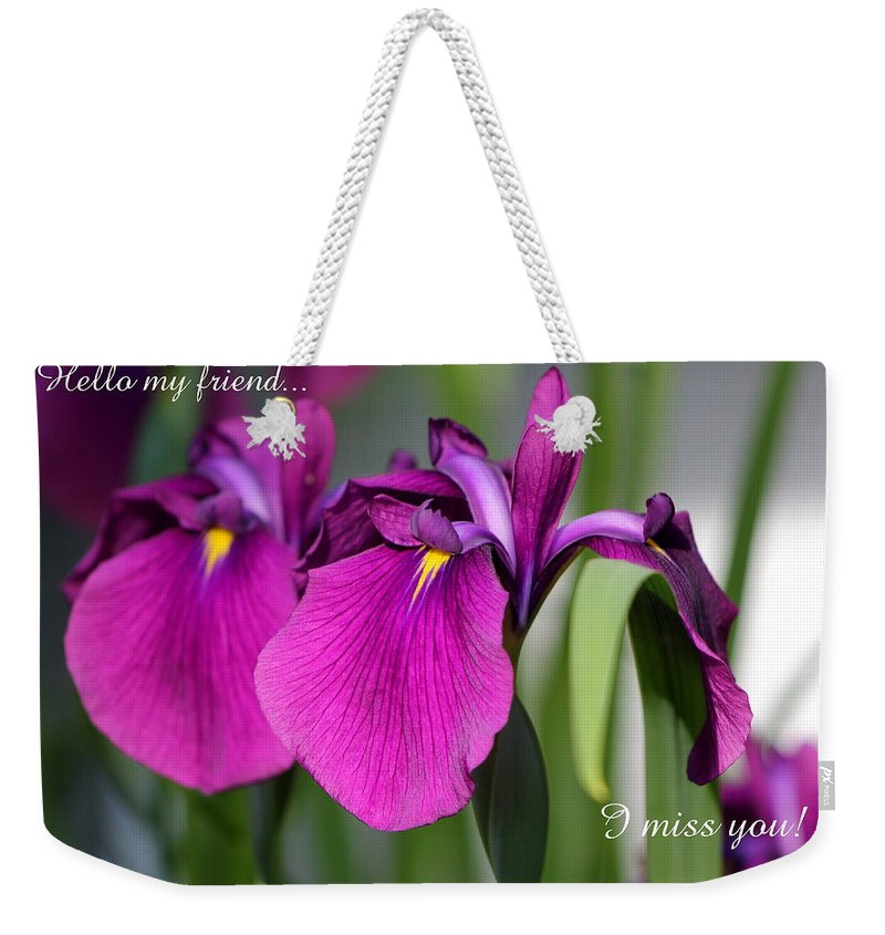 Card Weekender Tote Bag featuring the photograph Miss You by Deborah Crew-Johnson
