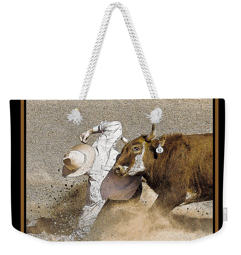 Rodeo Weekender Tote Bag featuring the photograph Missed by Larry White