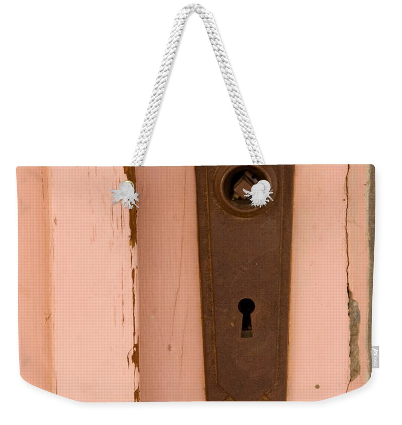 Door Plate Weekender Tote Bag featuring the photograph Missing A Knob by Vivian Christopher