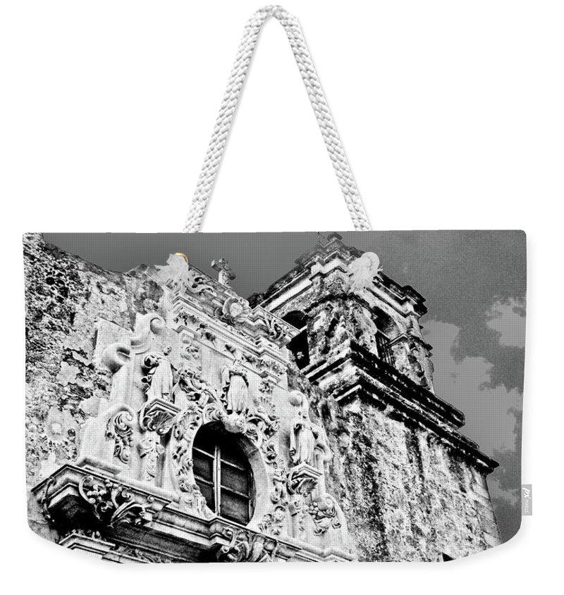 Black White Image Weekender Tote Bag featuring the digital art Mission San Jose San Antonio Tx by Lizi Beard-Ward