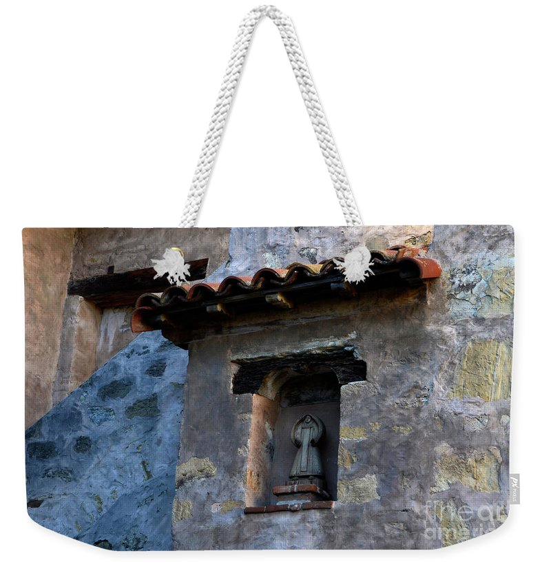 Coast Weekender Tote Bag featuring the photograph Mission Wall Detail by Bob Christopher