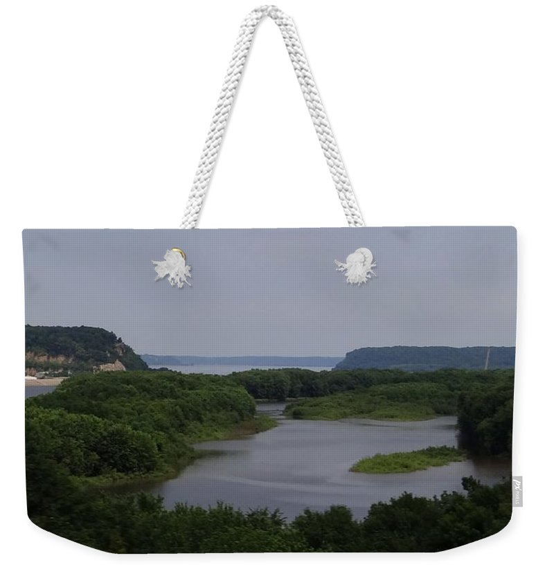 Mississippi River Weekender Tote Bag featuring the photograph Mississippi River Panorama  by Keith Stokes
