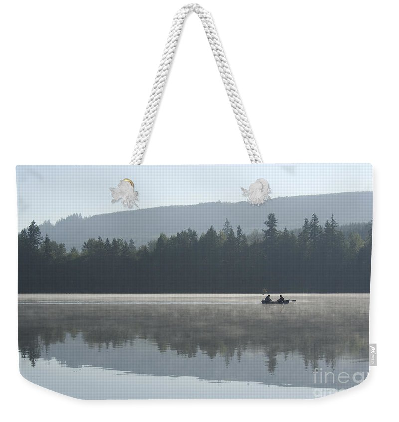 Washington Weekender Tote Bag featuring the photograph Misty Morning Fishing by Jim And Emily Bush