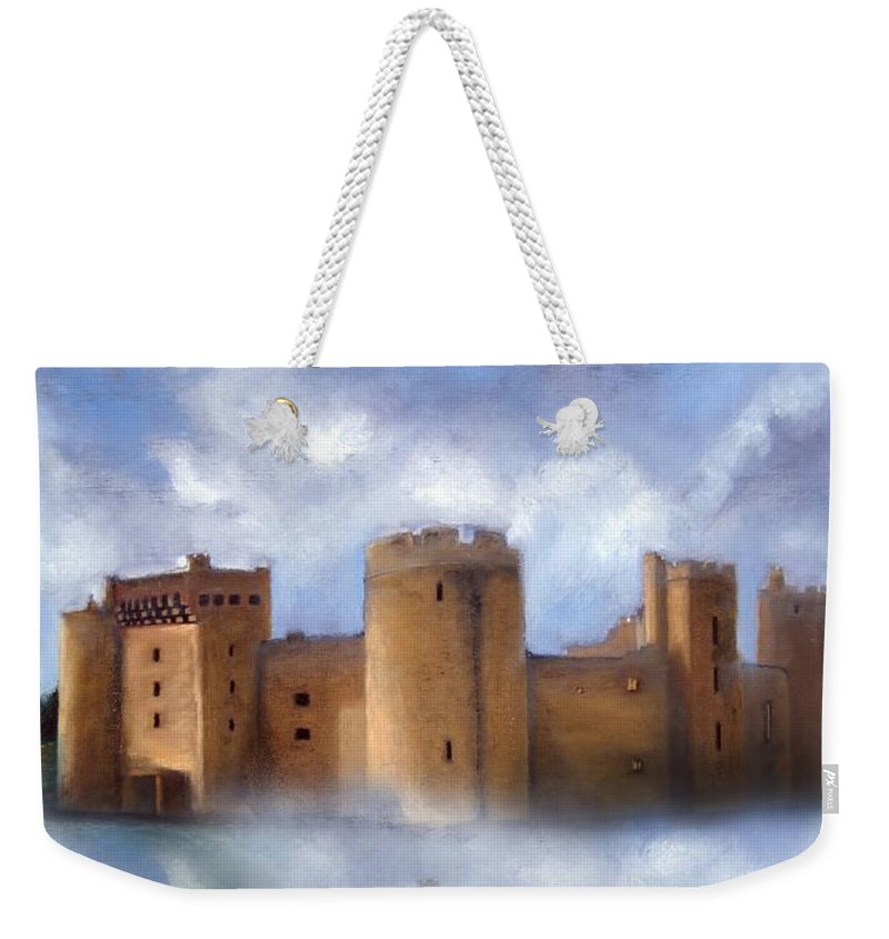 Scotland Weekender Tote Bag featuring the painting Misty Romantic Scotland by Georgiana Romanovna