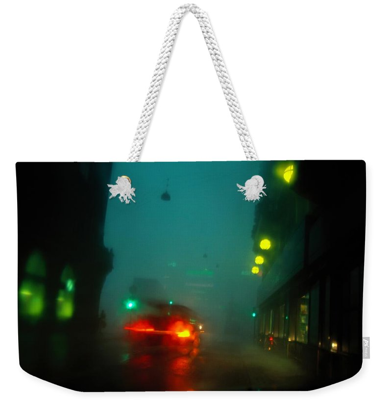Europe Weekender Tote Bag featuring the photograph Misty View Of Car Lights On A City by Sisse Brimberg