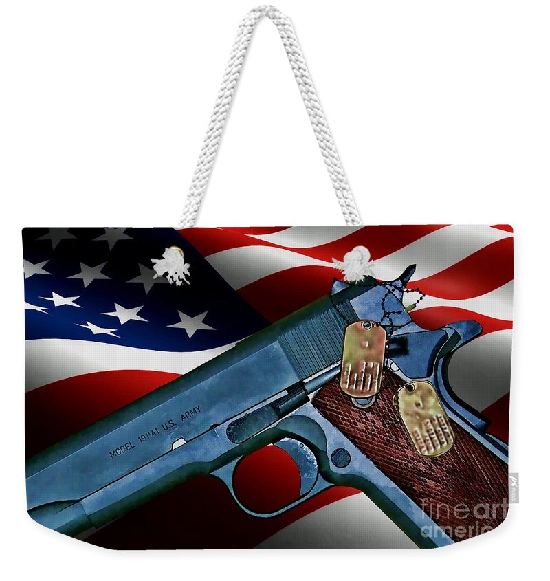 Colt Weekender Tote Bag featuring the digital art Model 1911-a1 by Tommy Anderson