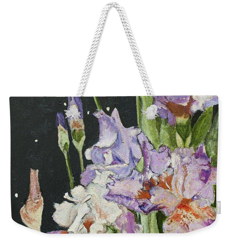 Iris Weekender Tote Bag featuring the painting Mom's Night Iris by Mickey Krause