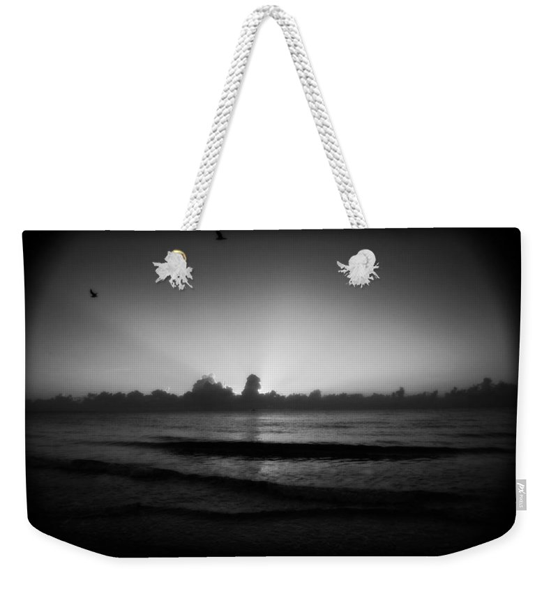 Miami Beach Weekender Tote Bag featuring the photograph Monochrome Miami by Mandy Shupp
