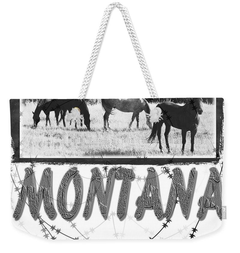 Montana Art Weekender Tote Bag featuring the digital art Montana Horse Design by Susan Kinney