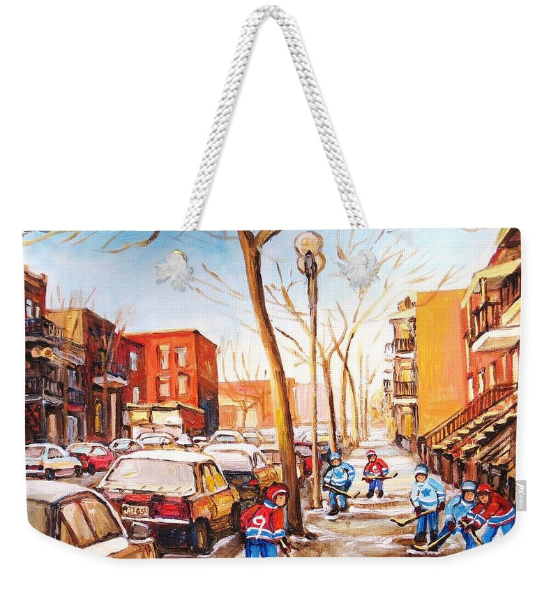 Montreal Street Scene With Boys Playing Hockey Weekender Tote Bag featuring the painting Montreal Street With Six Boys Playing Hockey by Carole Spandau