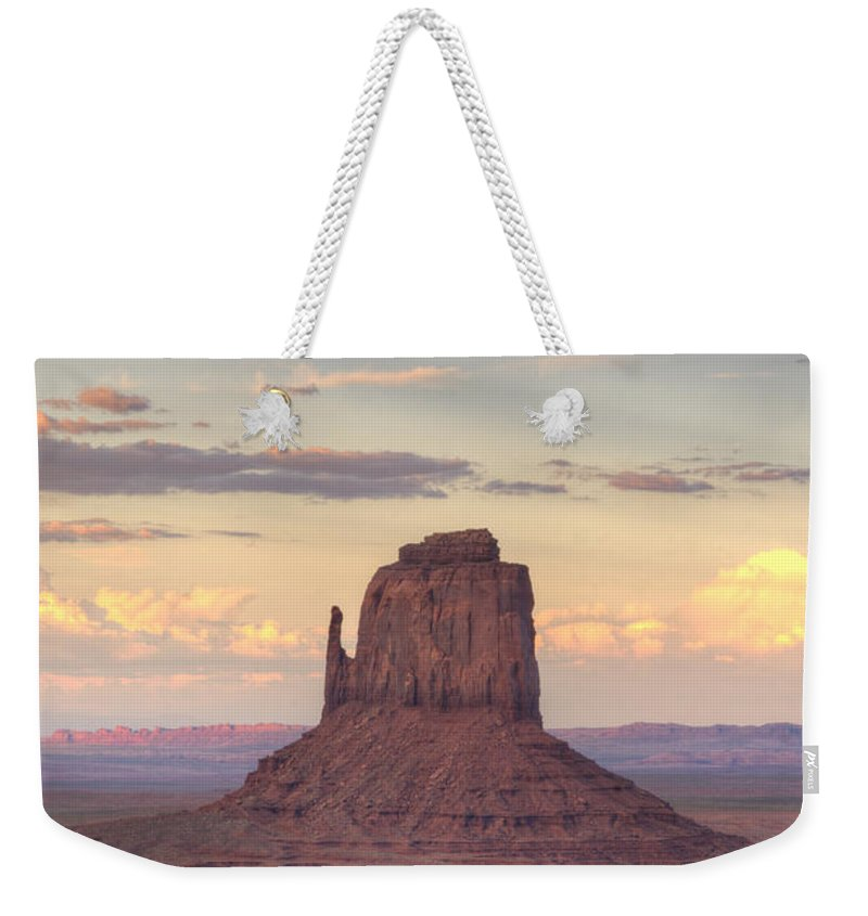 Sunset Weekender Tote Bag featuring the photograph Monument Valley - East Mitten Butte by Saija Lehtonen