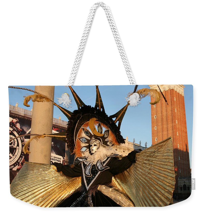 Venice Weekender Tote Bag featuring the photograph Moon Goddess At Tower by Donna Corless