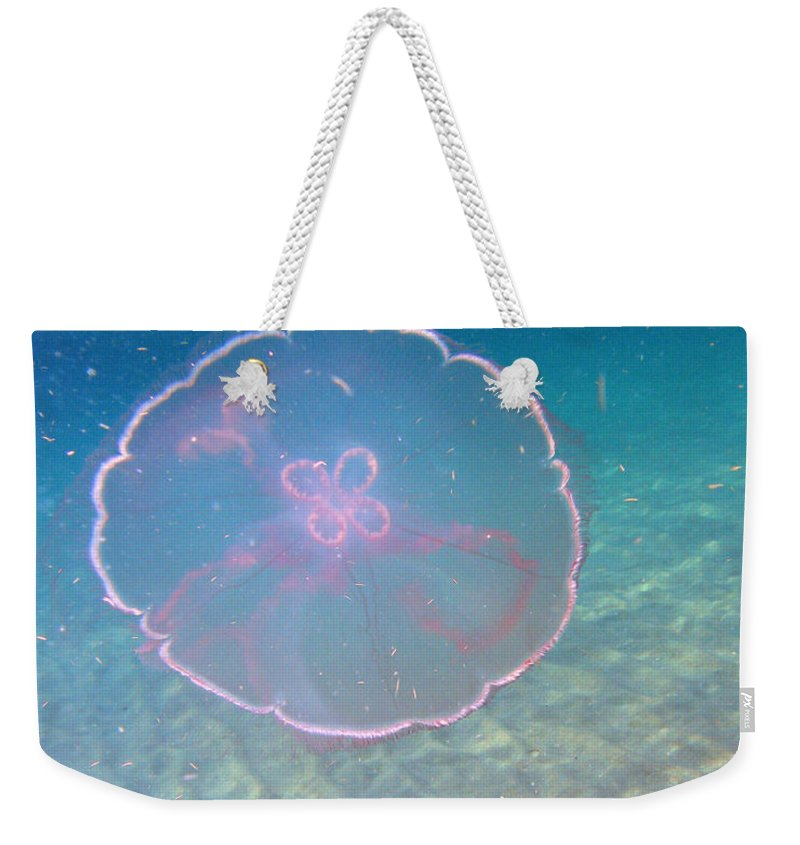 Ocean Nature Blue Sea Water Beach Reef Wildlife Weekender Tote Bag featuring the photograph Moon Jelly by Kimberly Mohlenhoff