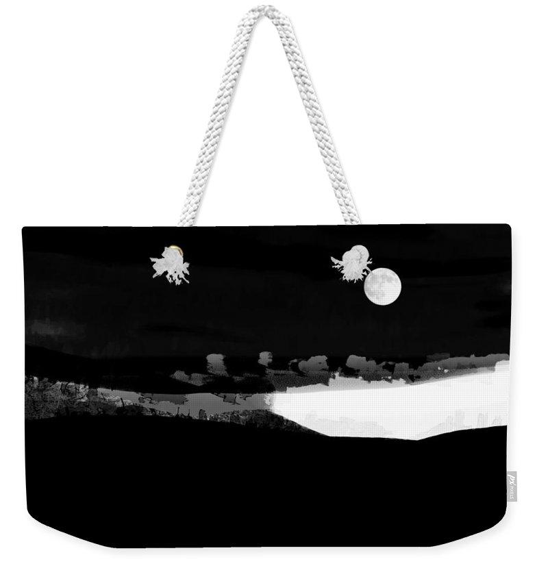 Ron Jones Weekender Tote Bag featuring the digital art Moonrise Adams Country by Ron Jones