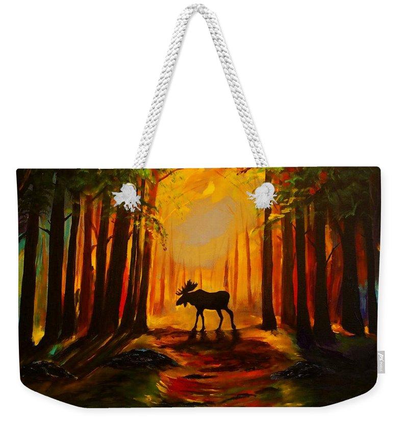 Moose Weekender Tote Bag featuring the painting Moose Sunset by Leslie Allen