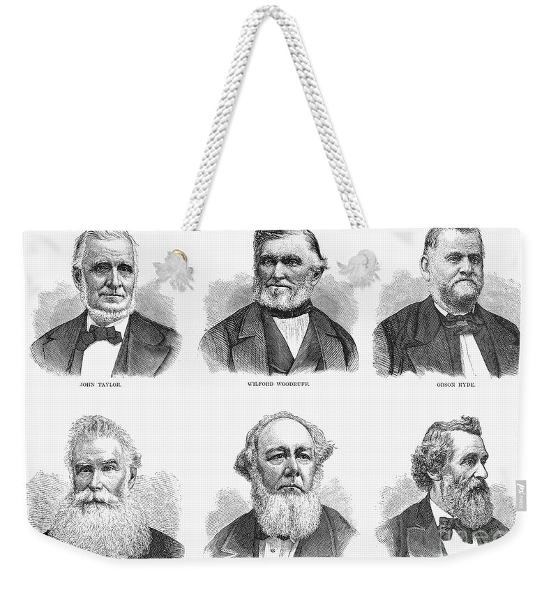 1877 Weekender Tote Bag featuring the photograph Mormon Apostles, 1877 by Granger