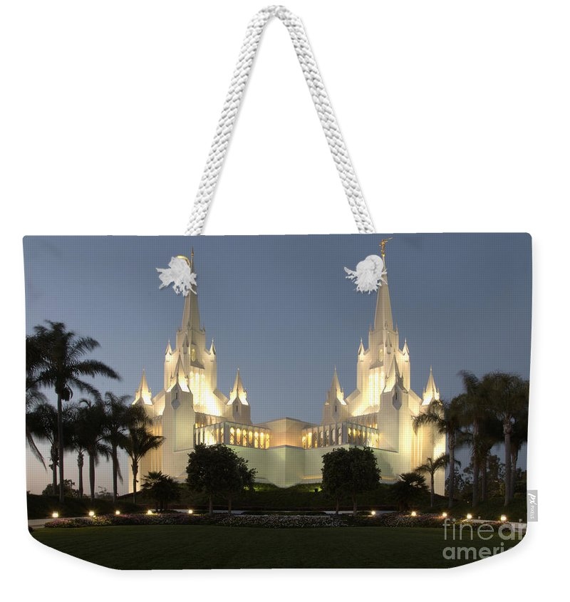 Mormon Weekender Tote Bag featuring the photograph Mormon Cathederal San Diego 2 by Bob Christopher