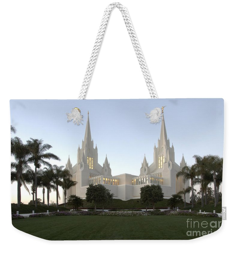 Mormon Weekender Tote Bag featuring the photograph Mormon Cathederal San Diego by Bob Christopher