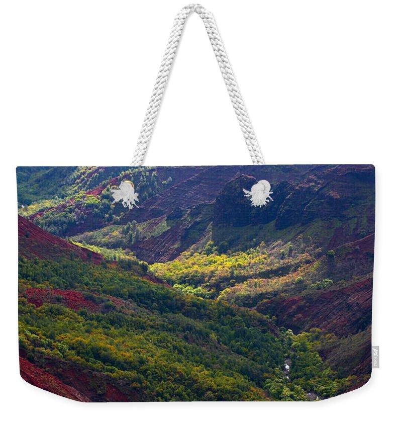 Waimea Weekender Tote Bag featuring the photograph Morning Waimea Canyon by Mike Reid