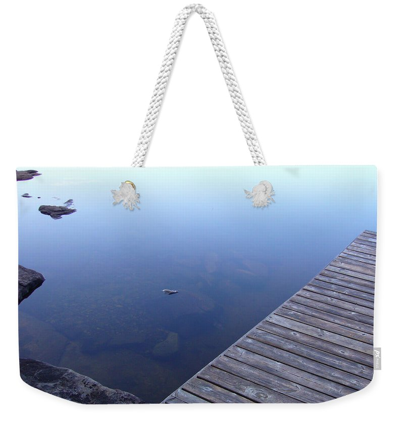 Morning Weekender Tote Bag featuring the photograph Morning Dock by Shirley Radebach