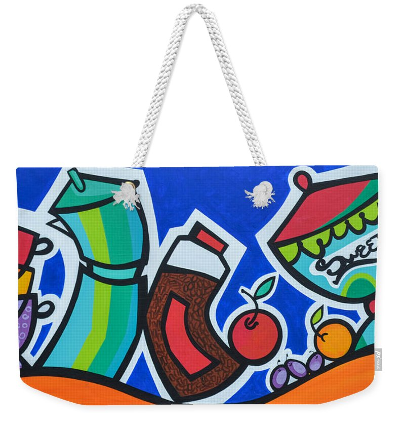 Food And Beverages Weekender Tote Bag featuring the painting Morning Energy by Mary Tere Perez