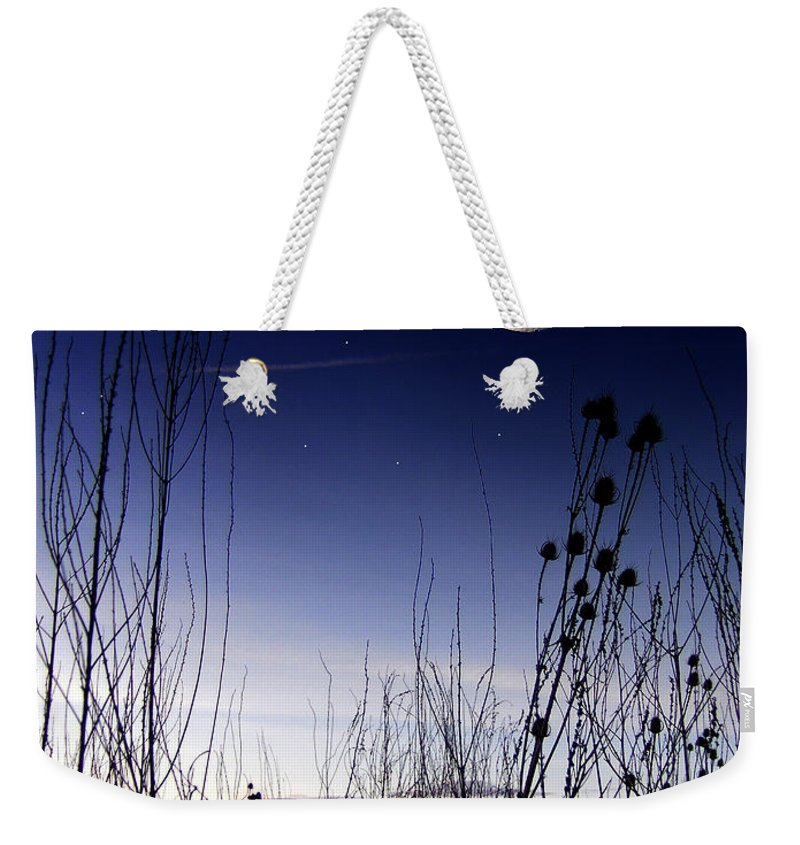 Morning Moon Landscape Fantasy Sky Space Silhouette Art Photo Photography Digital Jdfielding Weekender Tote Bag featuring the photograph Morning Moonscape by JD Fielding