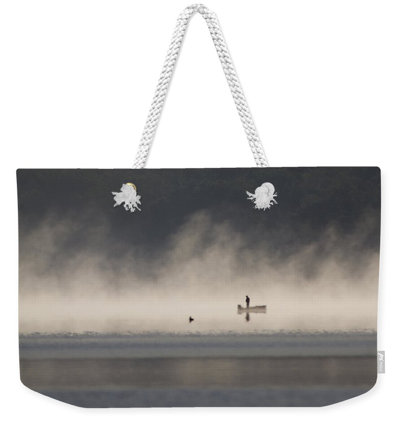 Fog Weekender Tote Bag featuring the photograph Morning On The Lake 2 by Dan Wells